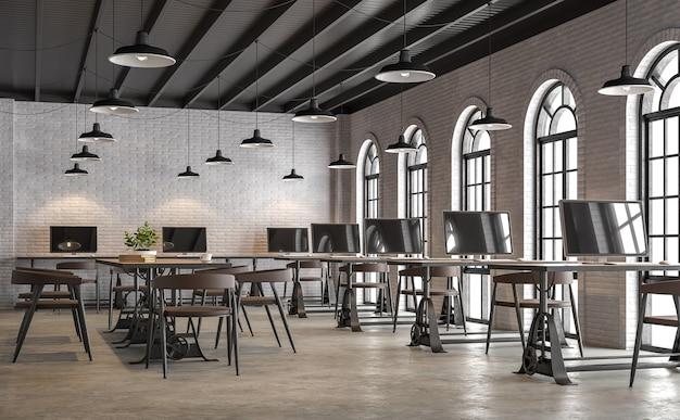 Industrielles büro im loft-stil mit bogenformfenster 3d-rendering mit weißer backsteinmauer betonboden