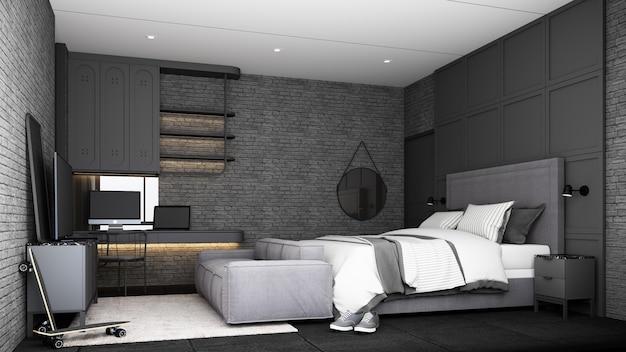 Industrielles loft-schlafzimmer-innendesign mit grauem möbel-schlafsofa-arbeitstisch und tv-schrank mit backsteinmauer und betonboden 3d-rendering