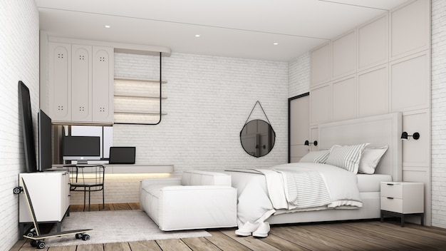 Industrielles loft-schlafzimmer-innendesign mit weißem möbel-schlafsofa-arbeitstisch und tv-schrank mit backsteinmauer und betonboden 3d-rendering