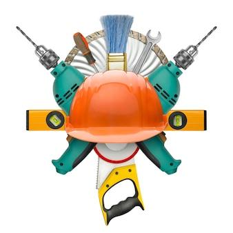 Industrielles symbol für werkzeuge. isoliert auf weiß Premium Fotos