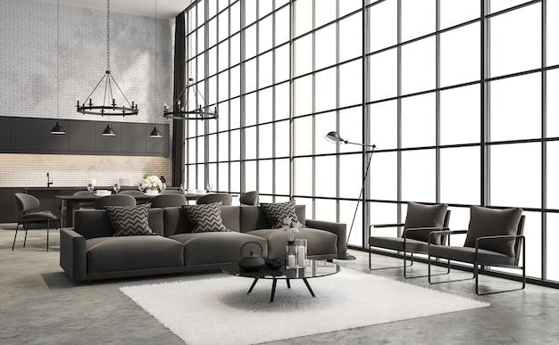 Industrielles wohn- und esszimmer im loft-stil 3d-rendering mit dunkelgrauen möbeln dekoriert