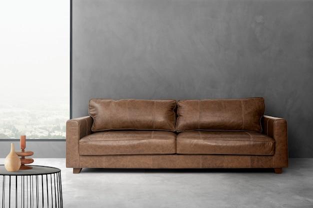 Industrielles wohnzimmer-innendesign mit kunstledersofa