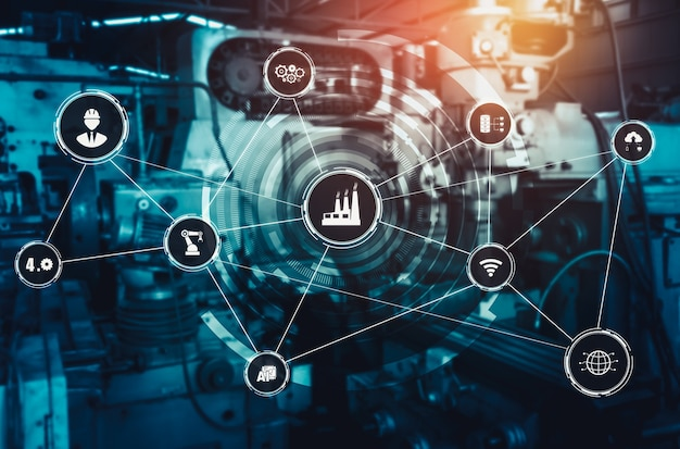 Industrietechnologiekonzept der smart factory für die vierte industrielle revolution