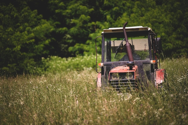Industrietraktor, der gras auf einem feld mäht