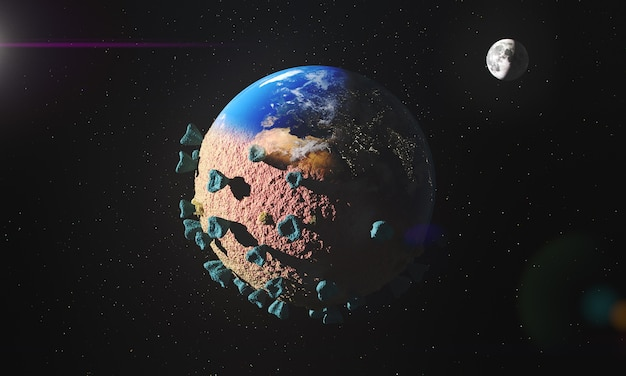 Infizierter planet erde mit coronavirus