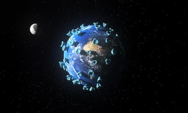 Infizierter planet erde und mond
