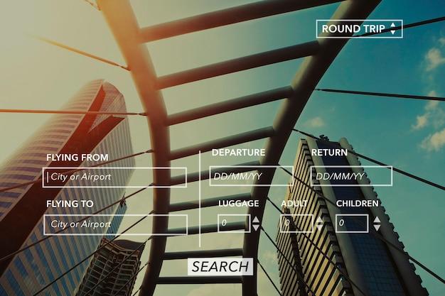 Informationsbanner der flugbuchungswebsite