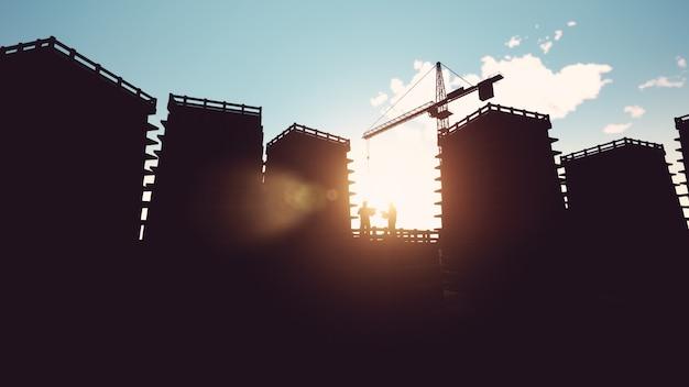 Ingenieur und bauarbeiter und silhouette kräne 3d-rendering