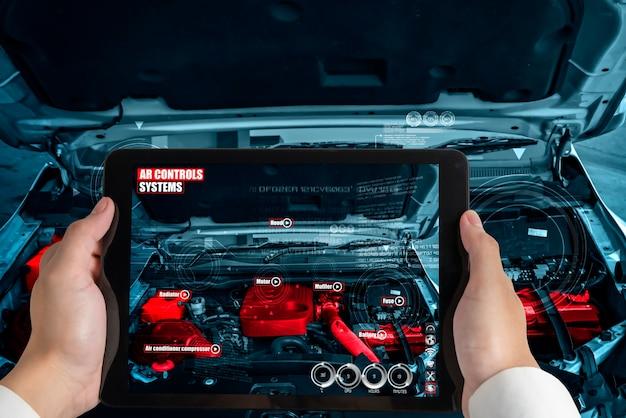 Ingenieure verwenden augmented-reality-software, um teile von kraftfahrzeugen zu überwachen