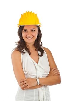 Ingenieurfrau mit zeichnung