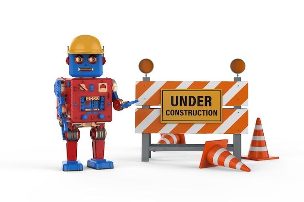 Ingenieurroboterkonzept mit 3d-rendering-roboterblechspielzeug mit zeichen im bau