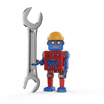 Ingenieurroboterkonzept mit 3d-rendering-roboterhandgriffschlüssel