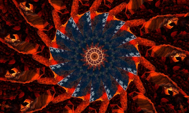 Ingwer grooviges kaleidoskop abstraktes nahtloses muster mit runden kaleidoskopischen leuchtenden elementen.