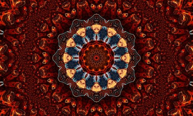 Ingwer kaleidoskop. groovige tapete. ingwer wiederholen batik. schwarze geometrische farbe. mystischer psychedelischer horror. weißer geometrischer teppich. nahtlose mystische tapete.