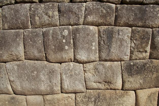 Inka-mauer in der stadt macchu-picchu, peru