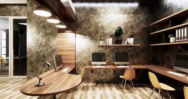Innenarchitektur-betonmauergrau der bürostudio-dachbodenart glatt auf hölzernen fliesen