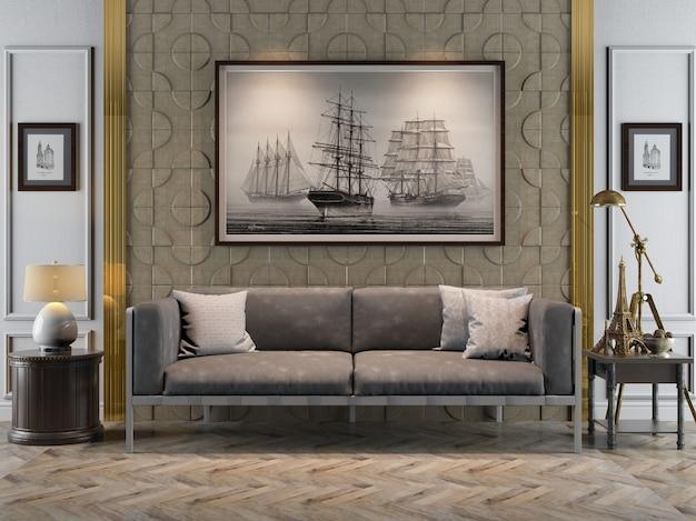 Innenarchitektur des 3d-rendering-wohnzimmer-sofas