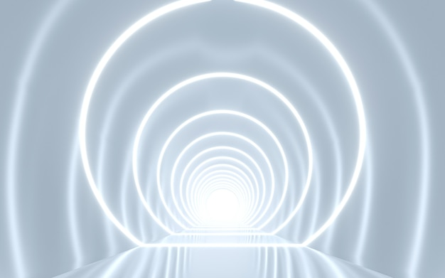 Innenarchitektur des beleuchteten korridors. 3d-rendering