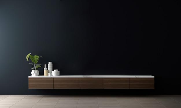 Innenarchitektur des blauen flurwohnzimmers mit stilvollem modularem, neutralem raumteiler, dekoration und eleganten accessoires. moderne tropische wohnkultur, 3d rendern