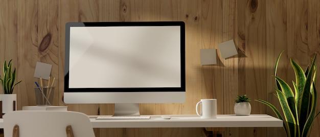 Innenarchitektur des büroraums der 3d-darstellung mit computer-büromaterial und dekorationen auf dem tisch mit 3d-illustration des plankenwandhintergrunds