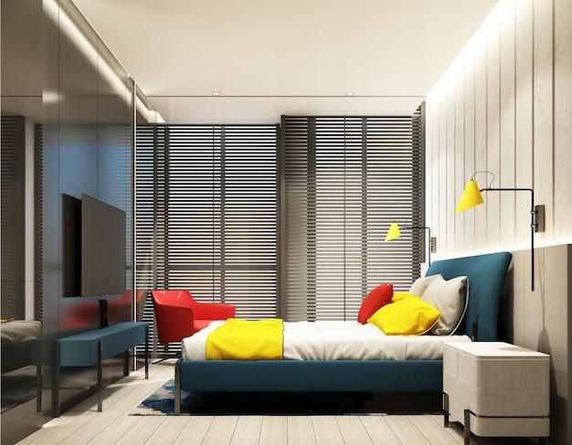 Innenarchitektur des farbenfrohen schlafzimmers mit feature-wand in rot-blau-gelb- und grauton mit tv-schrank und bett, sessel auf holzboden, decke und holzjalousie am großen fenster 3d-rendering