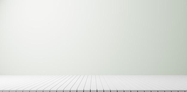 Innenarchitektur des leeren raumes oder weiße anzeige auf bodenhintergrund mit perspektivischer planke. 3d-rendering.