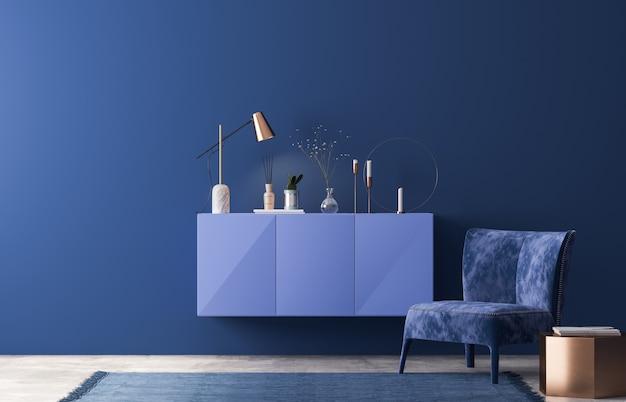 Innenarchitektur des luxuswohnzimmers im modernen blauen wohnstil