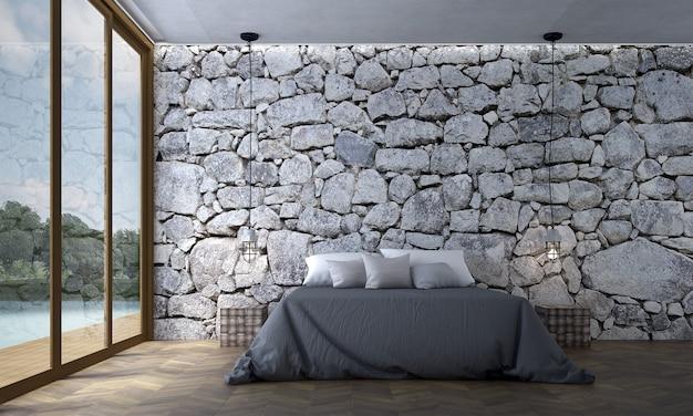 Innenarchitektur des modernen gemütlichen schlafzimmers und der steinbeschaffenheitswandhintergrund-innenarchitektur