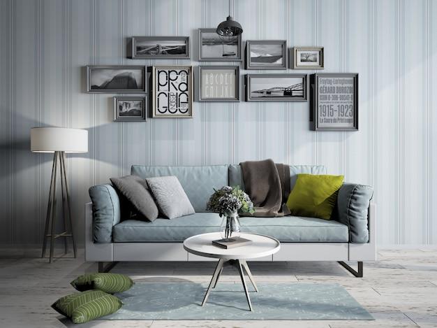 Innenarchitektur des modernen minimalistischen wohnzimmers der 3d-wiedergabe
