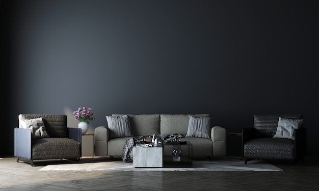 Innenarchitektur des modernen modelldekors des luxuswohnzimmers und des leeren blauen wandbeschaffenheitshintergrunds