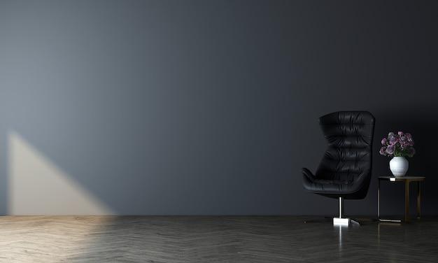 Innenarchitektur des modernen modelldekors des minimalen gemütlichen wohnzimmers und des leeren blauen wandbeschaffenheitshintergrunds