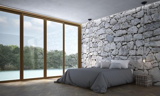 Innenarchitektur des modernen schlafzimmer- und steinbeschaffenheitswandhintergrundes
