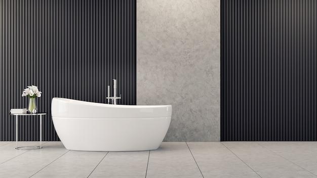 Innenarchitektur des modernen und dachbodenbadezimmers, weiße badewanne ist nahe blume auf dem tisch auf schwarzer lattenwand
