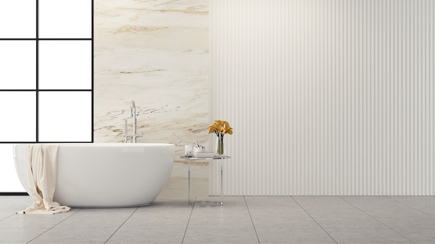 Innenarchitektur des modernen und hohen badezimmers, weiße badewanne mit marmorwand