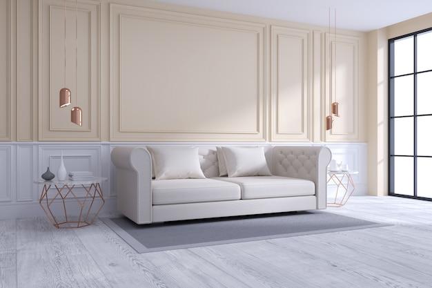 Innenarchitektur des modernen und klassischen wohnzimmers, weißes und gemütliches raumkonzept