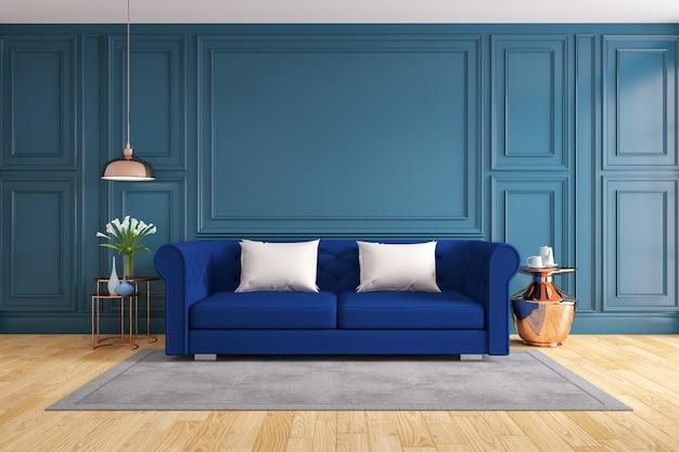 Innenarchitektur des modernen und klassischen wohnzimmers, wiedergabe 3d