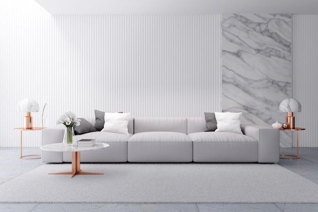 Innenarchitektur des modernen weißen luxuswohnzimmers