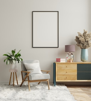 Innenarchitektur des modernen wohnzimmers mit weißer leerer wall.3d-darstellung
