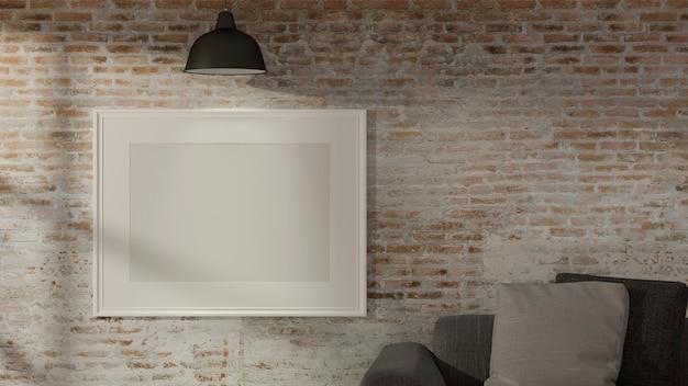 Innenarchitektur des wohnzimmers mit sofalampe und modellrahmen auf backsteinmauer