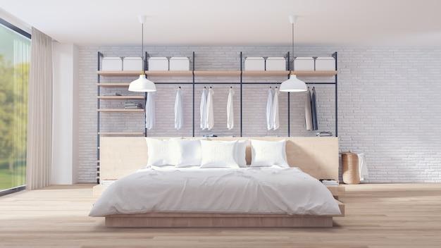 Innenarchitektur für schlafzimmer und ankleidezimmer im loft-stil