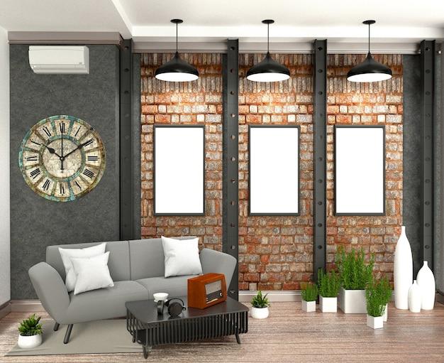 Innenarchitektur im loft-stil. 3d-rendering