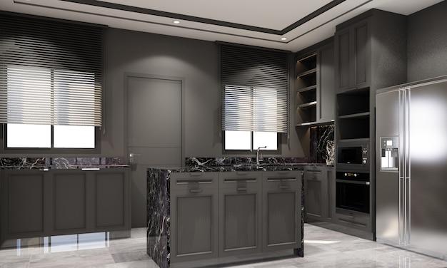 Innenarchitektur im modernen klassischen stil der küche mit schwarzer marmor- und schwarzer stahlstruktur und grauen möbeln mit eingebautem 3d-rendering-interieur