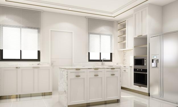 Innenarchitektur im modernen klassischen stil der küche mit weißer marmor- und goldstruktur und weißen möbeln mit eingebautem 3d-rendering-interieur