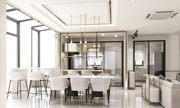 Innenarchitektur im modernen klassischen stil des essbereichs und der speisekammer mit weißer marmor- und goldstruktur und weißen möbeln im 3d-rendering-interieur