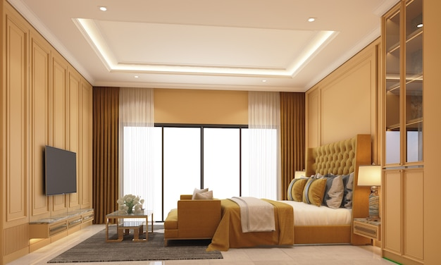 Innenarchitektur im modernen klassischen stil des schlafzimmers mit farbiger marmor- und goldstahlstruktur und gelben möbeln und wandset 3d-rendering-interieur