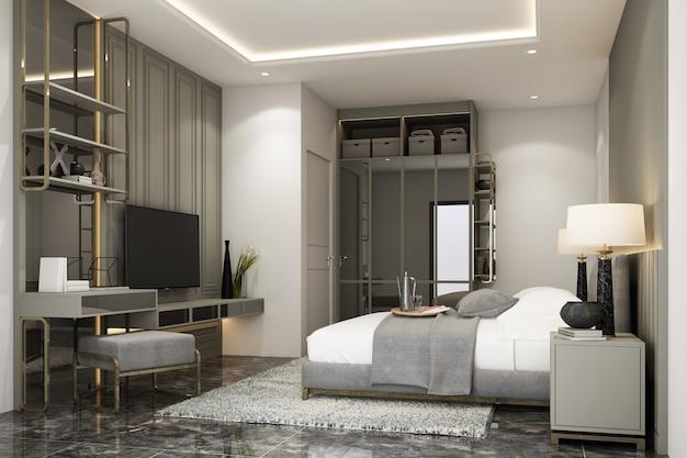 Innenarchitektur im modernen klassischen stil des schlafzimmers mit grauer spayfarbe, schwarzem marmorholz und goldener textur und weißen möbeln, 3d-rendering-interieur