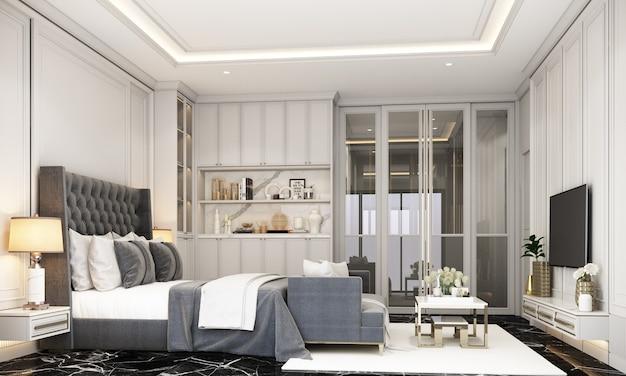 Innenarchitektur im modernen klassischen stil des schlafzimmers mit schwarzer marmor- und schwarzer stahlstruktur und grauen möbeln 3d-rendering-interieur