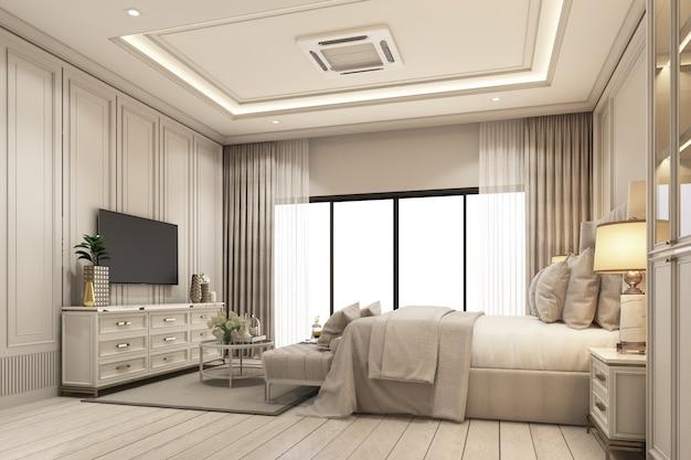 Innenarchitektur im modernen klassischen stil des schlafzimmers mit weißer holz- und goldstahlstruktur und grauem möbelbett mit fenstern und bloßem vorhang auf holzboden 3d-rendering-interieur