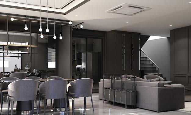 Innenarchitektur im modernen klassischen stil des wohn- und essbereichs mit schwarzer marmor- und schwarzer stahlstruktur und grauen möbeln mit integriertem 3d-rendering-interieur