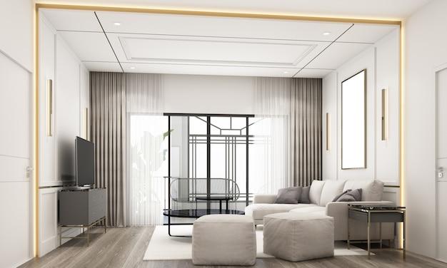 Innenarchitektur im modernen klassischen stil des wohnbereichs mit weißer marmor- und goldstruktur und weißen möbeln 3d-rendering-interieur